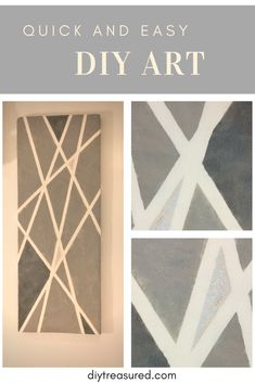Quick and easy diy art.How to make a canvas from upcycled materials. Diy art with masking tape and paint. Used left over paints - cost 0$ | diy project ideas on a budget | diy acoustic panel | diy interior | grey interior | abstract | geometric