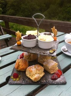 If you are looking for a Cornish Cream Tea served in a fabulous setting visit The Waymarker near Constantine.  A complete Cornish experience from the clotted cream to the Cornish slate it is served on!