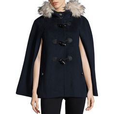 Eliza J Toggle-Front Wool-Blend Cape (260 CAD) ❤ liked on Polyvore featuring outerwear, navy, cape coat, toggle cape, hooded cape, wool blend cape and navy cape