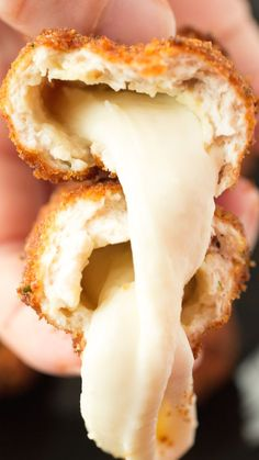 Mozzarella Stick Chicken Fries - Mozzarella sticks covered in ground chicken, then covered in bread crumbs and deep fried.