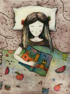 Read, imagine, dream / Leer, imaginar, soñar (ilustración de Nati)