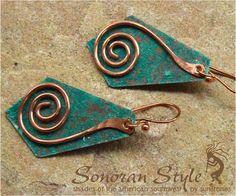 Rustic Copper Earrings by SunStones on Etsy