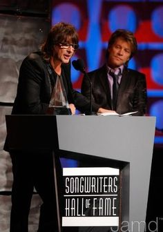 """Richie Sambora and Jon Bon Jovi accepting their induction into the """"Songwriters Hall Of Fame"""""""