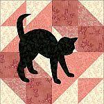 School Girl's Puzzle block with cat applique