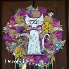 FLOWER POWER CAT Wreath by decoglitz on Etsy