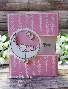 Stampin Up Hello Baby Card (video) from The Stampin B Carte Stampin Up Hello Baby (vidéo) de Stampin B Baby Girl Cards, New Baby Cards, Baby Shower Cards Handmade, Fancy Fold Cards, Baby Kind, Card Tutorials, Kids Cards, Homemade Cards, Stampin Up Cards