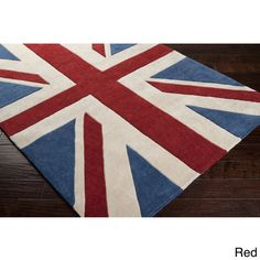 Hand-tufted Union Jack Novelty Contemporary Area Rug (9' x 13')