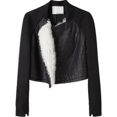 3.1 Phillip Lim Shearling Front Baseball Jacket ($485) ❤ liked on Polyvore