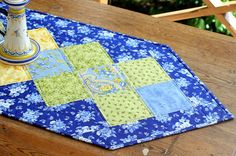 Quilted Floral Table Runner  Blue Green Yellow by RedNeedleQuilts
