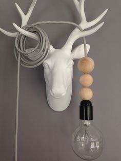 Lampe baladeuse cable textile argent pailleté et perles bois