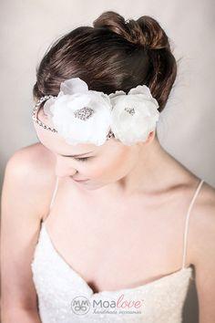 Scarlet | silk flowers wiht rhinestone leaves - MoaLove Accessories