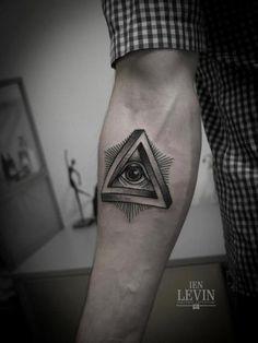 Arm Dotwork God Tattoo by Ien Levin