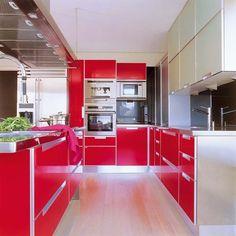 muebles rojos de cocina