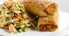 Served with an Asian-style salad, this chicken and vegetable sausage roll offers a fresh take on an iconic pastry.