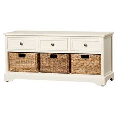 Wood Storage Entryway Bench with 3 Woven Storage Baskets in Ivory Finish Wooden Storage Bench, Entryway Bench Storage, Bench With Storage, Storage Baskets, Foyer Bench, Cabinet Storage, Storage Ideas, Bench With Drawers, Wooden Drawers