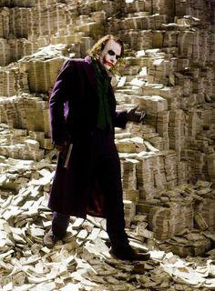 Heath Ledger as the Joker, The Dark Night, 2008 - The Dark Knight really did make tons more money than was spoken of. Because The Joker wanted his cut. Joker Batman, The Joker, Heath Ledger Joker, Joker Art, Batman Robin, Christopher Nolan, Chris Nolan, Heros Comics, Dc Comics