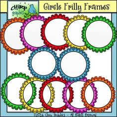 This colorful set of Circle Frilly Frames will help make your resources POP! Classroom Clipart, Classroom Labels, Free Boarders, Create Font, Alphabet Templates, Art Worksheets, Free Frames, Frame Clipart, Free Graphics