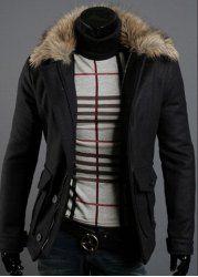 $28.40 Slimming Faux Fur Turndown Collar Single Breasted Solid Color Long Sleeves Woolen Coat For Men