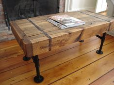 Reclaimed wood & pipe coffee table rustic-side-tables-and-end-tables