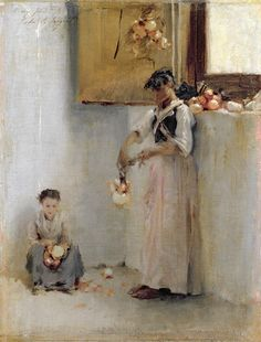 Stringing Onions, 1882 ~ John Singer Sargent ~ (American: 1856-1925)