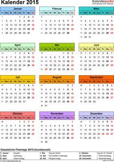 <span class=word-16>Word-Kalender 2015 Vorlage 14: Hochformat, 1 Seite, in Farbe