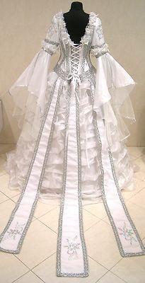 Silver medieval wedding dress victorian goth larp m-l-xl 14-16-18 theme robe ren