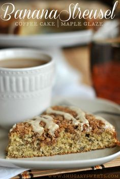 Classic Banana Streusel Coffee Cake with Maple Glaze.