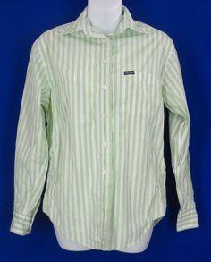 Façonnable Shirt XS Striped Button Front Top Blouse Cotton Green Long Sleeve $39.88 #Faonnable #ButtonDownShirt