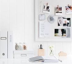 White minimalistic office inspiration // white canvas vision board