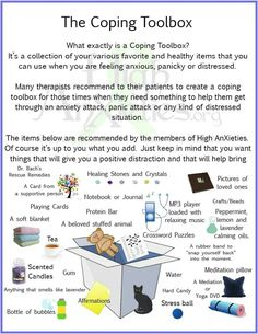 What i tend to keep around me at home anyhow. Coping Toolbox Infographic for Anxiety / Stress , etc. Counseling Activities, School Counseling, Social Work Activities, Coping Skills Activities, Group Therapy Activities, Grief Counseling, Ptsd, Trauma, School Social Work