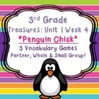 "This packet includes three games that will help your third grade students master their weekly vocabulary words for ""Penguin Chick"" in the Treasures..."