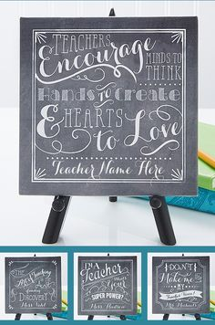 Personalized Teacher Quotes Tabletop Canvas .... BEAUTIFUL! And such a great Teacher Gift Idea!