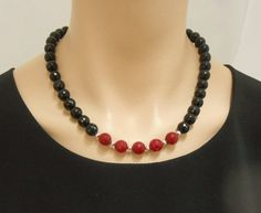 Faceted black onyx and red jade necklace with door SilverSerenade