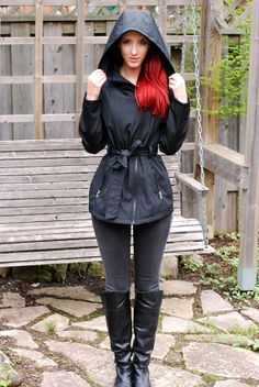 Jessica Simpson raincoat   Sidewalk Strut   Rainy day outfit