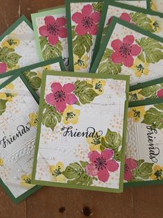 Stampin Up Botanical Blooms stamps, and embossing folder, card stock, and inks