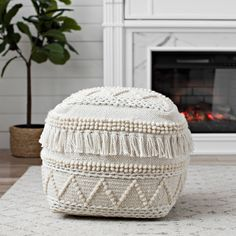 Add a neutral, yet playful pouf to your southwest styled space! Our Ivory Braided and Wool Fringe Pouf features a mixed media design under a creamy white hue. Nursery Pouf, Decor, Ottoman, Moroccan Decor, Living Room Pouf, Moroccan Leather Pouf, Ottoman In Living Room, Pouf Ottoman Living Room, Floor Pouf