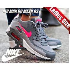Nike Air Max 90 Womens Gray Pink White Mesh Nike Air Max For Women, Nike Women, Sneakers Fashion, Fashion Shoes, Women's Fashion, Air Max 90 Grey, Glitter Nikes, Air Max Sneakers, Sneakers Nike