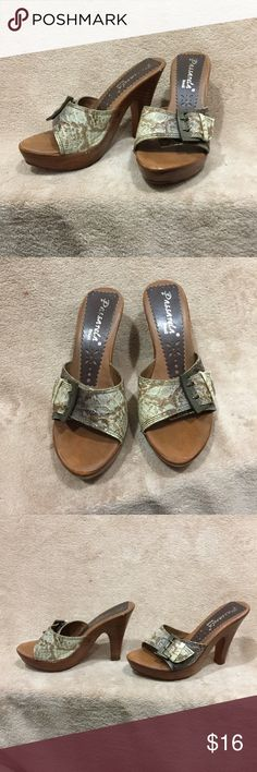 Passarela Brazil Heel Passarela Brazil wooden Heel, lightweight & comfortable. Size 5. Snakeskin print design. Vintage buckles.  Good condition. Worn a few times but still have some life left in them. They don't fit me anymore. I offer 30% off 3+ items in my closet. Passarela Shoes Heels