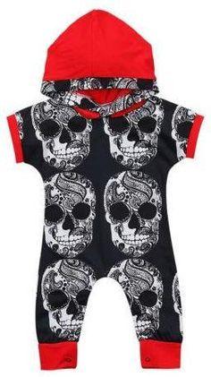 Black and Red Skull Romper