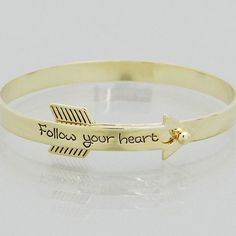 Follow Your Heart Gold Arrow Bracelet