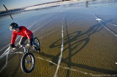 Winter cycling on crystal clear Lake Michigan ice - Imgurimgur.com
