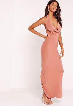 Slinky Cowl Halter Neck Maxi Dress Pink - Missguided