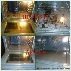 DIY natural oven cleaner- 2 cups Baking Soda, 1/2 cup Vinegar, 1/4 cup Lemon Juice- mix ingredients SLOWLY into a paste, coat oven and leave overnight. Next morning mix half vinegar half water in a spray bottle. Spray generously inside the oven, wipe it down.
