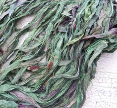jungle green recycled silk sari ribbon