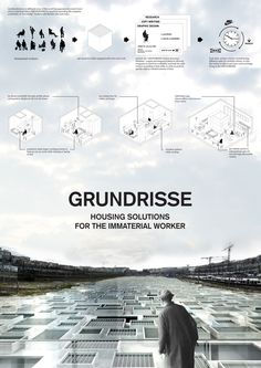 """Grundrisse, Housing Solutions for the Immaterial Worker"" by. : ""Grundrisse, Housing Solutions for the Immaterial Worker"" by Microcities wins first prize at Think-Space Architecture Panel, Architecture Graphics, Architecture Drawings, Architecture Portfolio, Architecture Diagrams, Presentation Board Design, Architecture Presentation Board, Project Presentation, Architectural Presentation"