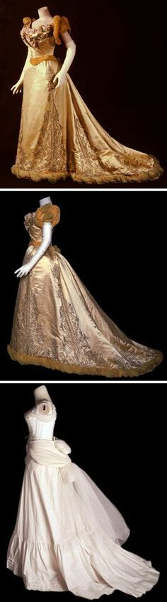Evening dress, Worth, 1893. Yellow silk satin. Low, wide neckline embroidered w/silver-colored cord & rhinestones, trimmed w/silk fabric flowers at front. Pattern pieces create illusion of bodice wrapping right over left. Sleeves are gold silk velvet & crepe. Self-fabric skirt embroidered w/silver-colored cord, gold-colored beads, sequins, and rhinestones. Lower edge of skirt bordered w/twisted garland of 2 shades of yellow crepe and backed w/gold velvet. Long train. Chicago History Museum