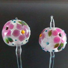 PIKALDA=handmade lampwork 2 earring pair glass beads flower=THE INNOCENT=SRA