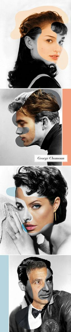 These are so neat! By George Chamoun From top to bottom: Audrey Hepburn/Natalie Portman, James Dean/Robert Pattinson, Liz Taylor/Angelina Jolie, and Cary Grant/George Clooney. These pictures are not altered in any way.