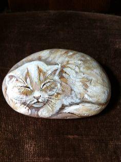 Vintage Hand Painted Rock Sleeping Kitten by KizzysKorners