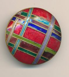 ANTIQUE ENAMEL BUTTON  - PLAID RED GREEN BLUE PURPLE LARGE